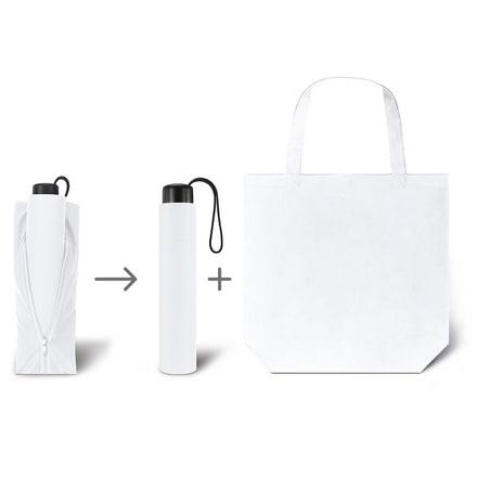 Werbeartkel individuell bedruckbar Regenschirm Super Mini & Shopper weiss Taschenschirm