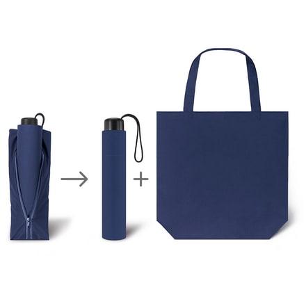 Werbeartkel individuell bedruckbar Regenschirm Super Mini & Shopper blau Taschenschirm