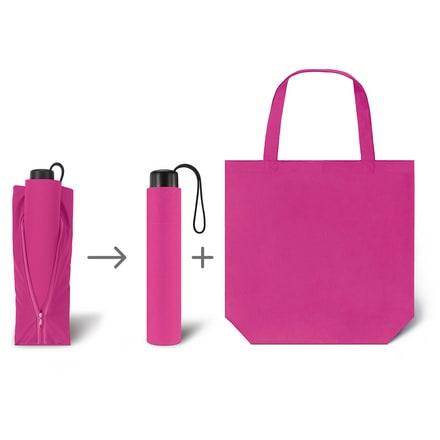 Werbeartkel individuell bedruckbar Regenschirm Super Mini & Shopper pink Taschenschirm