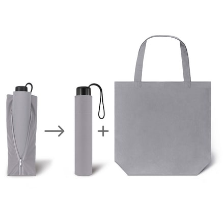 Werbeartkel individuell bedruckbar Regenschirm Super Mini & Shopper grau Taschenschirm