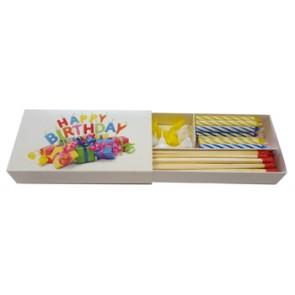 Werbeartikel Happy Birthday Kerzen mit Zündhölzern in Schachtel Langhölzer individuell bedruckbar Kaminzünder