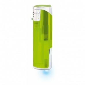 Werbeartikel Feuerzeug hellgrün grün individuell bedruckbar LED blau