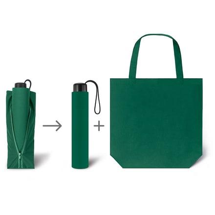 Werbeartkel individuell bedruckbar Regenschirm Super Mini & Shopper grün Taschenschirm