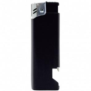 Werbeartikel Feuerzeug schwarz individuell bedruckbar Flaschenöffner Kapselheber